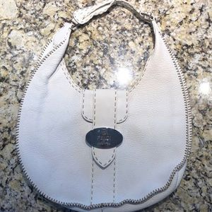 Fendi sellerina white pebbled leather bag